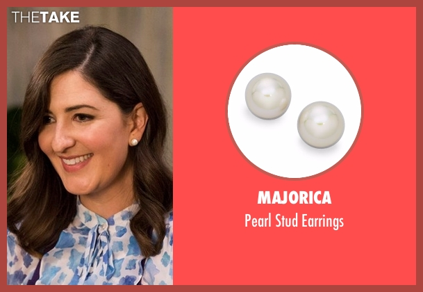 Majorica white earrings from The Good Place seen with Janet (D'Arcy Carden)