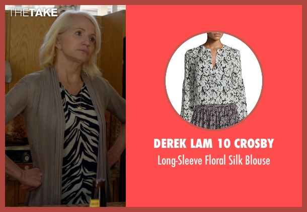 Derek Lam 10 Crosby black blouse from Animal Kingdom seen with Janine 'Smurf' Cody (Ellen Barkin)