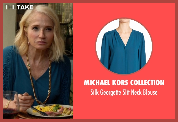 Michael Kors Collection blue blouse from Animal Kingdom seen with Janine 'Smurf' Cody (Ellen Barkin)