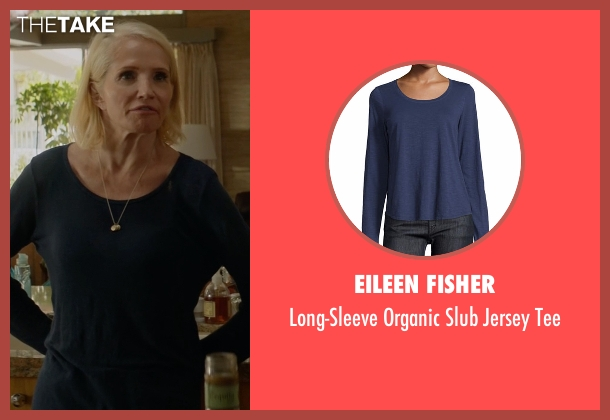 Eileen Fisher blue tee from Animal Kingdom seen with Janine 'Smurf' Cody (Ellen Barkin)
