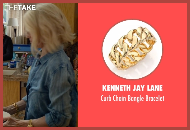 Kenneth Jay Lane gold bracelet from Animal Kingdom seen with Janine 'Smurf' Cody (Ellen Barkin)