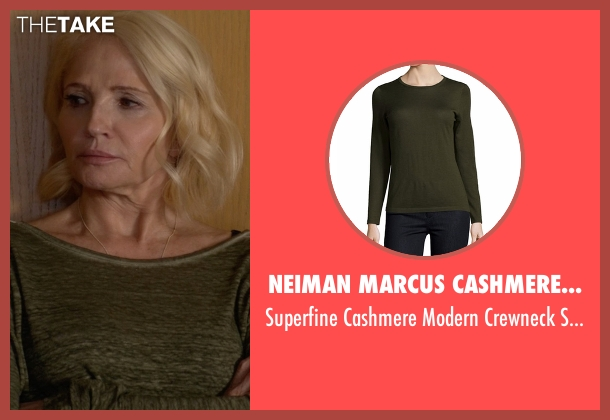 Neiman Marcus Cashmere Collection  green sweater from Animal Kingdom seen with Janine 'Smurf' Cody (Ellen Barkin)