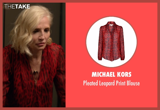 Michael Kors red blouse from Animal Kingdom seen with Janine 'Smurf' Cody (Ellen Barkin)