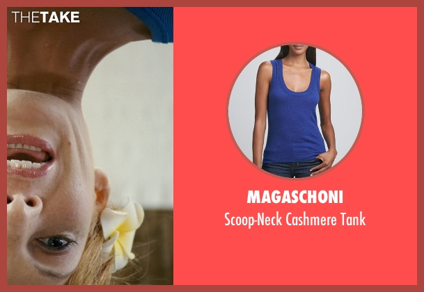 Magaschoni blue tank from Couple's Retreat seen with Janna Fassaert (Masseuse)