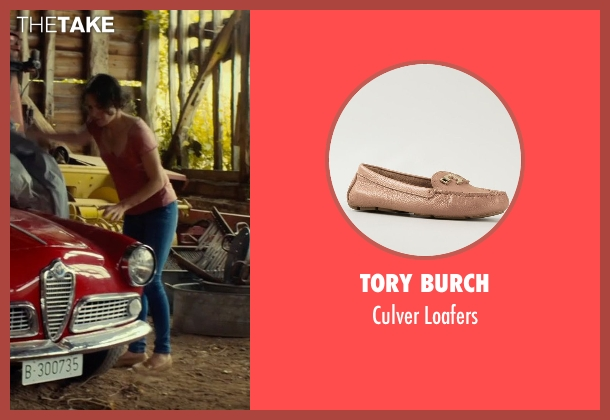 Tory Burch beige loafers from The Gunman seen with Jasmine Trinca (Annie)