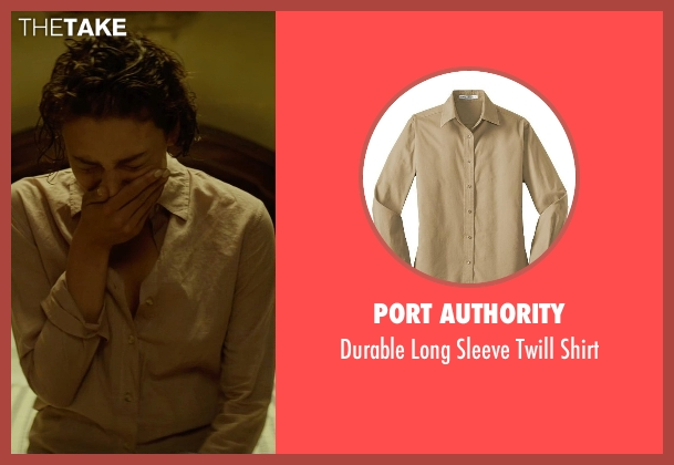 Port Authority beige shirt from The Gunman seen with Jasmine Trinca (Annie)