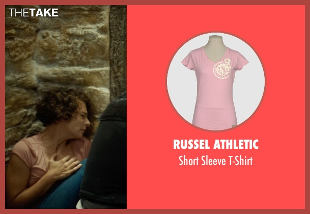 Russel Athletic pink t-shirt from The Gunman seen with Jasmine Trinca (Annie)