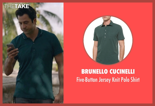 Brunello Cucinelli green shirt from Ballers seen with Jason (Troy Garity)