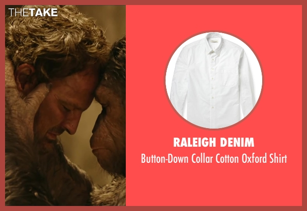 RALEIGH DENIM white shirt from Dawn of the Planet of the Apes seen with Jason Clarke (Malcolm)