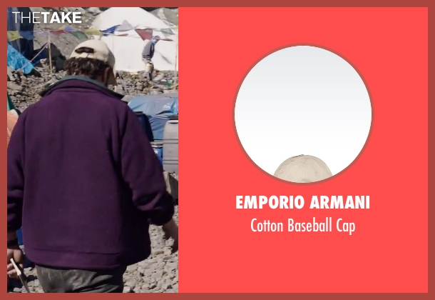 Emporio Armani beige cap from Everest seen with Jason Clarke (Rob Hall)