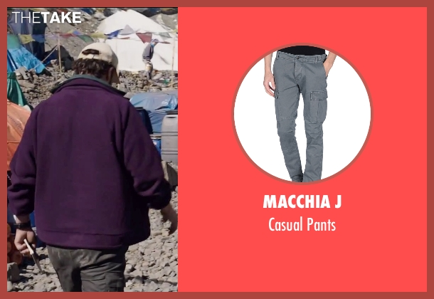 Macchia J gray pants from Everest seen with Jason Clarke (Rob Hall)