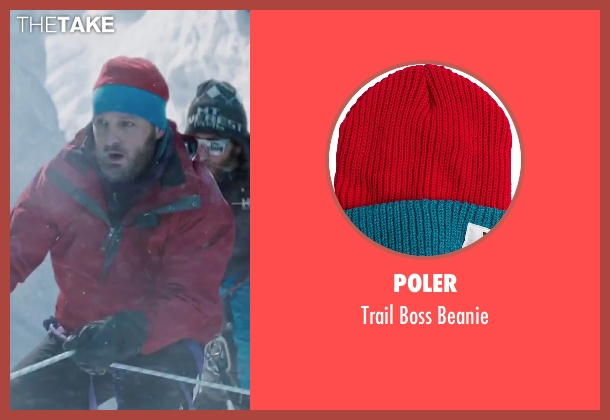 Poler red beanie from Everest seen with Jason Clarke (Rob Hall)