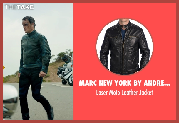 Marc New York By Andrew Marc black jacket from Terminator: Genisys seen with Jason Clarke (John Connor)