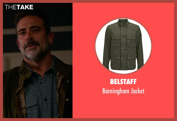 Belstaff green jacket from The Good Wife seen with Jason Crouse (Jeffrey Dean Morgan)