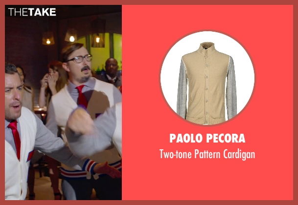Paolo Pecora beige cardigan from Pitch Perfect 2 seen with Jason Jones (Clef # 3)