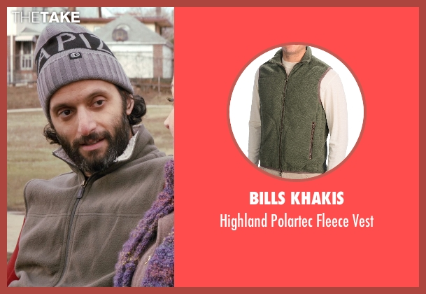 Bills Khakis green vest from Adult Beginners seen with Jason Mantzoukas (Unknown Character)