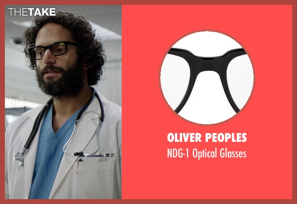 Oliver Peoples black glasses from Neighbors seen with Jason Mantzoukas (Doctor Theodorakis)