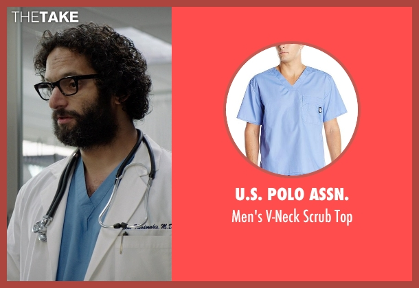U.S. Polo Assn. blue top from Neighbors seen with Jason Mantzoukas (Doctor Theodorakis)
