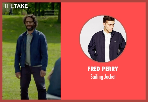 Fred Perry blue jacket from Sleeping with Other People seen with Jason Mantzoukas (Xander)