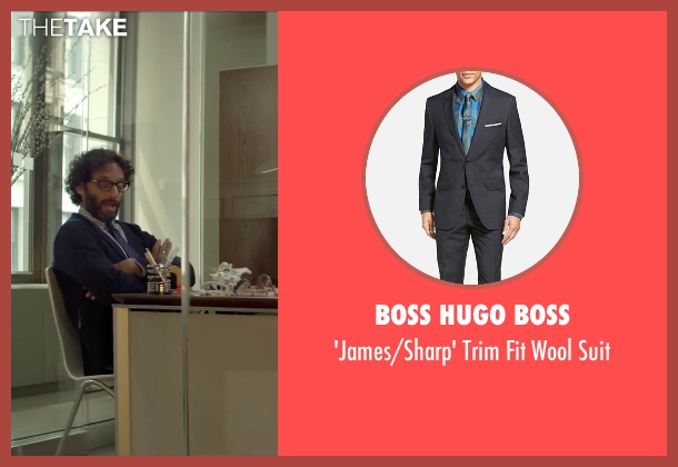 Boss Hugo Boss blue suit from Sleeping with Other People seen with Jason Mantzoukas (Xander)
