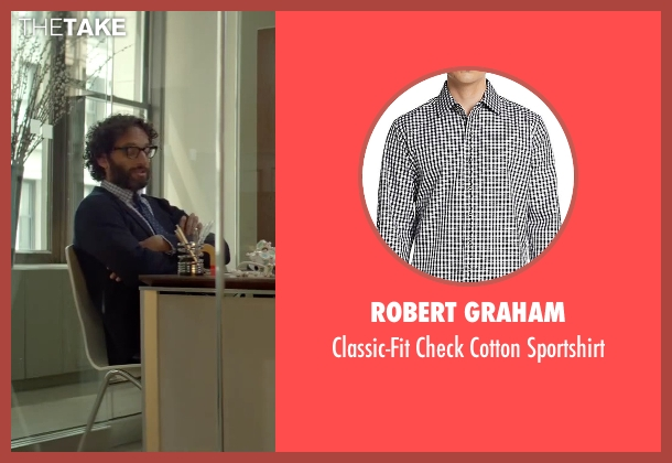Robert Graham white sportshirt from Sleeping with Other People seen with Jason Mantzoukas (Xander)