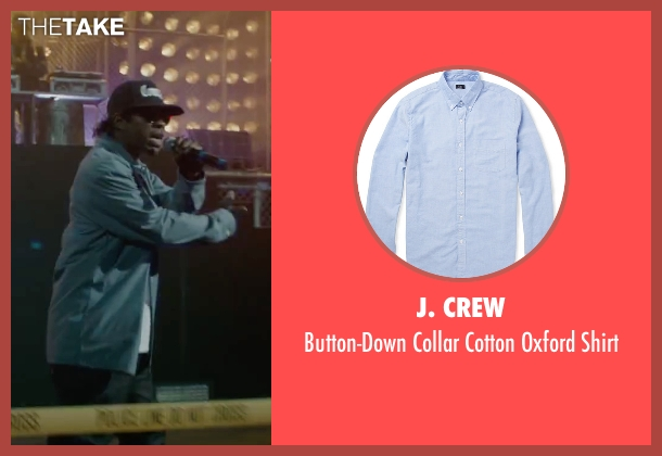 J. Crew blue shirt from Straight Outta Compton seen with Jason Mitchell (Eazy-E)