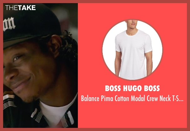 Boss Hugo Boss white t-shirt from Straight Outta Compton seen with Jason Mitchell (Eazy-E)