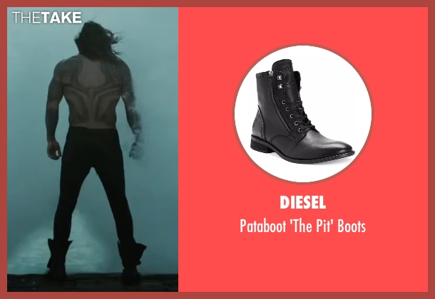 Diesel black boots from Justice League seen with Jason Momoa (Arthur Curry / Aquaman)