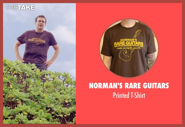 Norman's Rare Guitars brown t-shirt from Forgetting Sarah Marshall seen with Jason Segel (Peter Bretter)