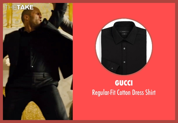 Gucci black shirt from Furious 7 seen with Jason Statham (Deckard Shaw)