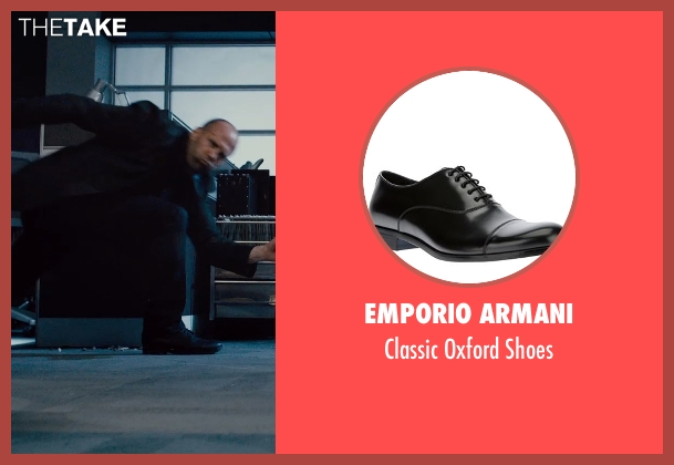 Emporio Armani black shoes from Furious 7 seen with Jason Statham (Deckard Shaw)