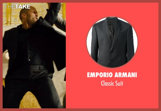 Emporio Armani black suit from Furious 7 seen with Jason Statham (Deckard Shaw)
