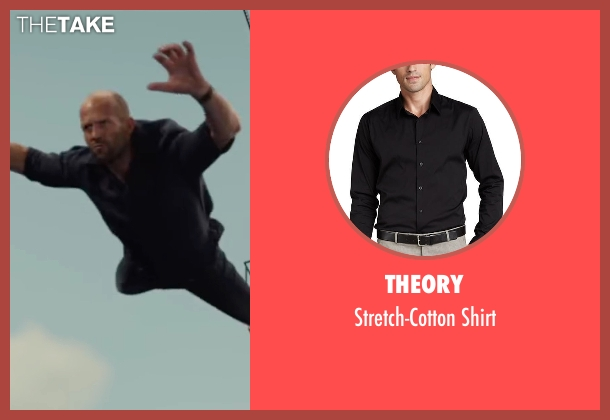 Theory black shirt from Mechanic: Resurrection seen with Jason Statham (Arthur Bishop)