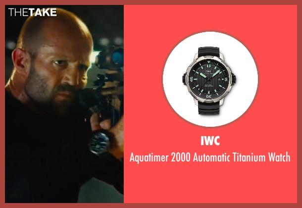 IWC black watch from Mechanic: Resurrection seen with Jason Statham (Arthur Bishop)