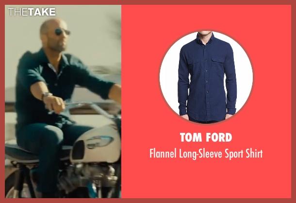 Tom Ford blue shirt from Mechanic: Resurrection seen with Jason Statham (Arthur Bishop)