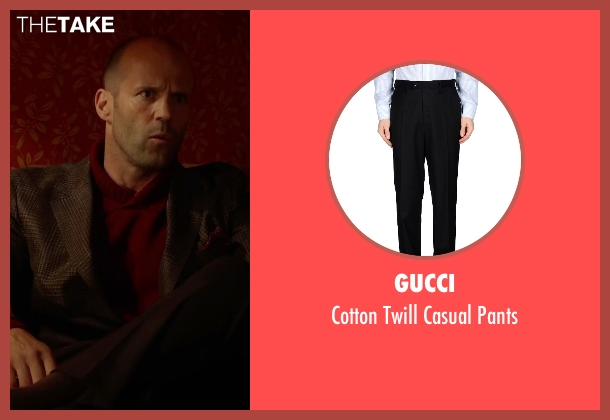 Gucci black pants from Spy seen with Jason Statham (Rick Ford)