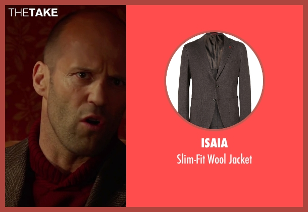 Isaia brown jacket from Spy seen with Jason Statham (Rick Ford)