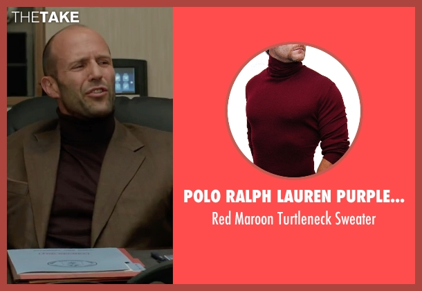 Polo Ralph Lauren Purple Label red sweater from Spy seen with Jason Statham (Rick Ford)