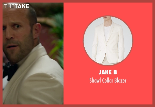 Jake B white blazer from Spy seen with Jason Statham (Rick Ford)
