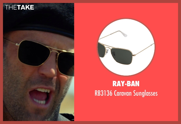 Ray-Ban gold sunglasses from The Expendables 3 seen with Jason Statham (Lee Christmas)