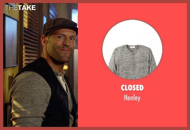 Closed gray henley from The Expendables 3 seen with Jason Statham (Lee Christmas)
