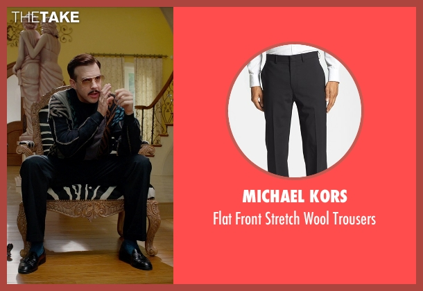 Michael Kors black trousers from Masterminds seen with Jason Sudeikis (Mike McKinney)