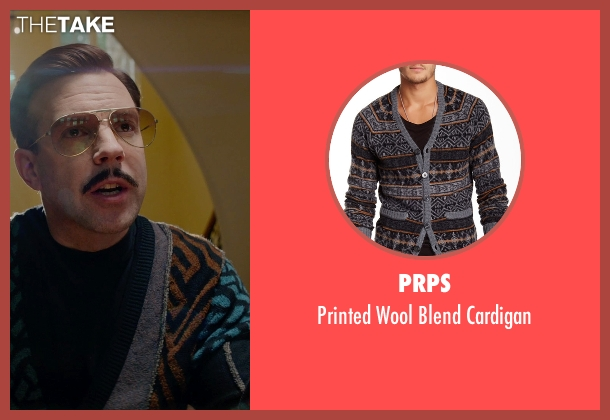 Prps cardigan from Masterminds seen with Jason Sudeikis (Mike McKinney)