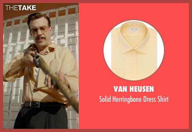 Van Heusen yellow shirt from Masterminds seen with Jason Sudeikis (Mike McKinney)