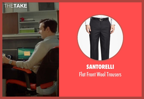 Santorelli black trousers from Sleeping with Other People seen with Jason Sudeikis (Jake)