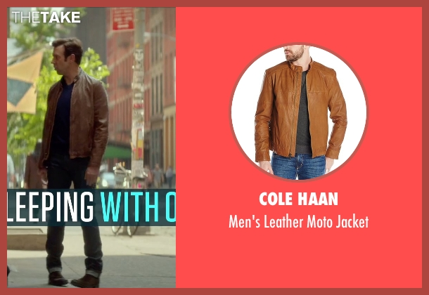 Cole Haan brown jacket from Sleeping with Other People seen with Jason Sudeikis (Jake)