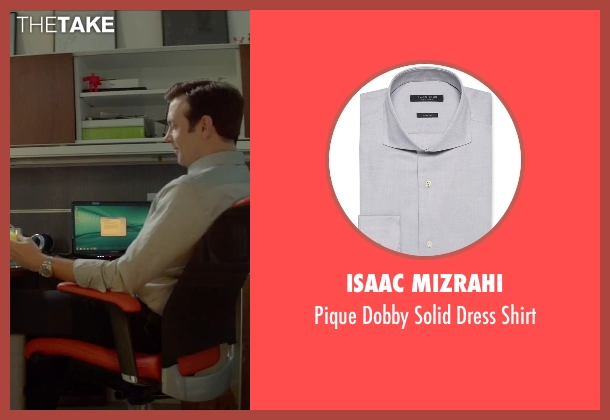 Isaac Mizrahi gray shirt from Sleeping with Other People seen with Jason Sudeikis (Jake)