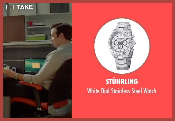 Stührling silver watch from Sleeping with Other People seen with Jason Sudeikis (Jake)