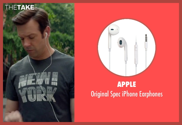 Apple white earphones from Sleeping with Other People seen with Jason Sudeikis (Jake)