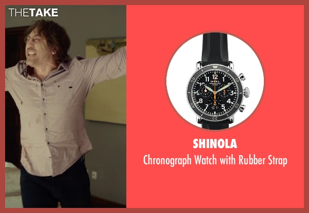 Shinola black strap from The Gunman seen with Javier Bardem (Felix)